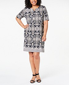 Plus Size Printed Dress, Created for Macy's