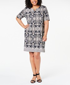 Karen Scott Plus Size Printed Dress, Created for Macy's