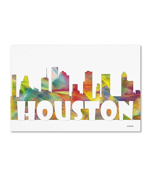 "Trademark Global Marlene Watson 'Houston Texas Skyline Mclr-2' Canvas Art - 12"" x 19"""
