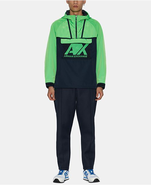 A X Armani Exchange Men's Colorblocked Hooded Logo Jacket