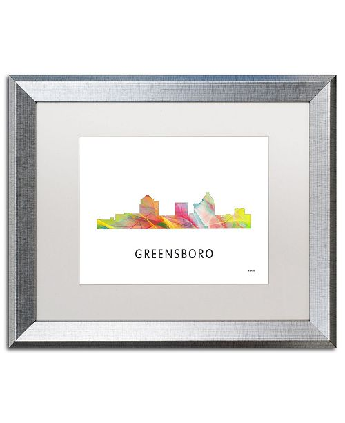 "Trademark Global Marlene Watson 'Greensboro NC Skyline WB-1' Matted Framed Art - 16"" x 20"""