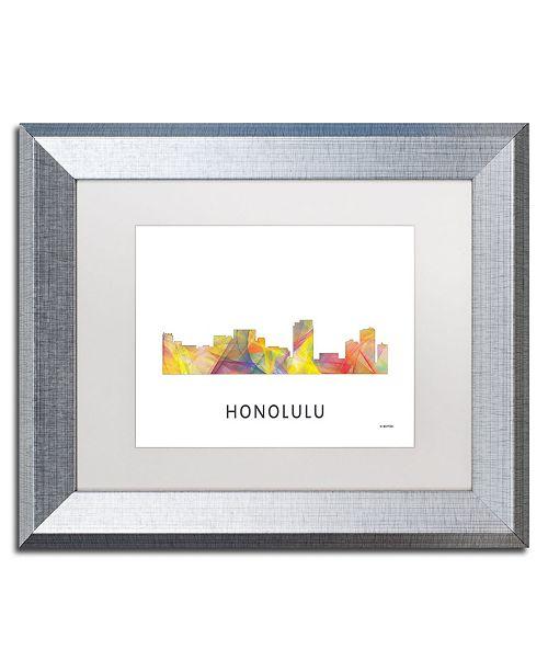 "Trademark Global Marlene Watson 'Honolulu Hawaii Skyline WB-1' Matted Framed Art - 11"" x 14"""