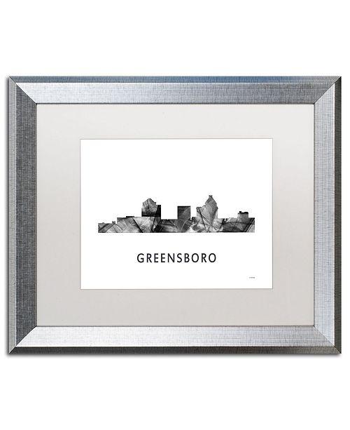 """Trademark Global Marlene Watson 'Greensboro NC Skyline WB-BW' Matted Framed Art - 16"""" x 20"""""""
