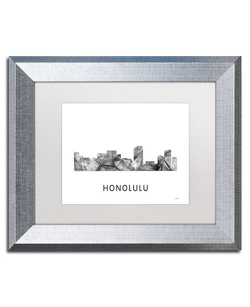 "Trademark Global Marlene Watson 'Honolulu Hawaii Skyline WB-BW' Matted Framed Art - 11"" x 14"""