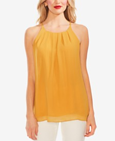 Vince Camuto Pleat-Front Rumple Chiffon Top