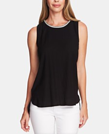 Vince Camuto Embroidered Mixed-Media Top