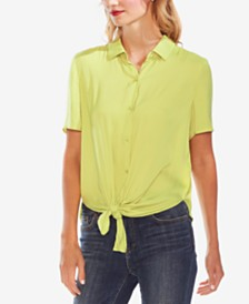 Vince Camuto Tie-Front Button-Up Blouse
