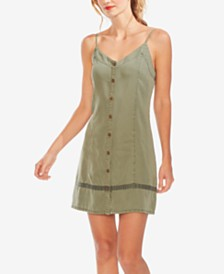 Vince Camuto Twill Button-Through Dress