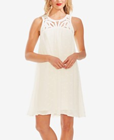 Vince Camuto Embroidered Crochet-Yoke Dress
