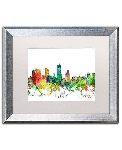 "Trademark Global Marlene Watson 'Fort Worth Texas Skyline SP' Matted Framed Art - 16"" x 20"""