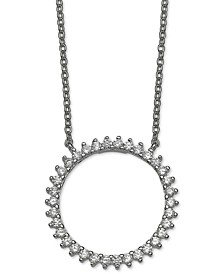 "Cubic Zirconia Circle 18"" Pendant Necklace in Sterling Silver, Created for Macy's"