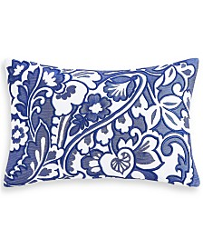 "Charter Club Damask Designs Blue Paisley 12"" x 18"" Decorative Pillow, Created for Macy's"