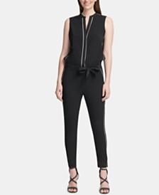 DKNY Belted V-Neck Jumpsuit
