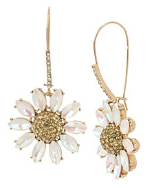 Pave Daisy Flower Long Drop Earrings