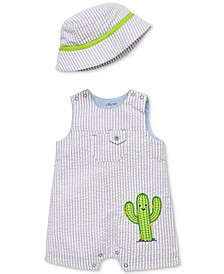 Baby Boys 2-Pc. Cotton Bucket Hat & Henley Cactus Romper Set