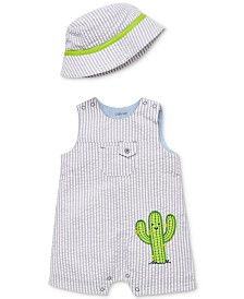 Little Me Baby Boys 2-Pc. Cotton Bucket Hat & Henley Cactus Romper Set