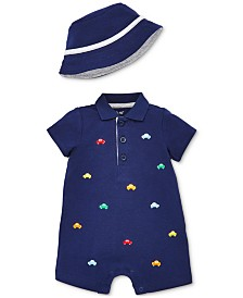 Little Me Baby Boys 2-Pc. Car Cotton Romper & Bucket Hat Set