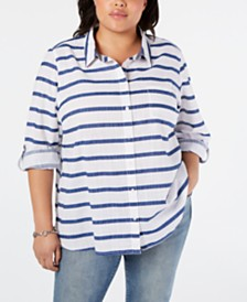 Tommy Hilfiger Cotton Plus Size Striped Top, Created for Macy's