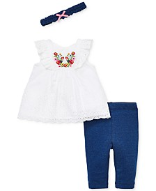 Little Me Baby Girls 3-Pc. Bouquet Cotton Eyelet Tunic, Leggings & Headband Set