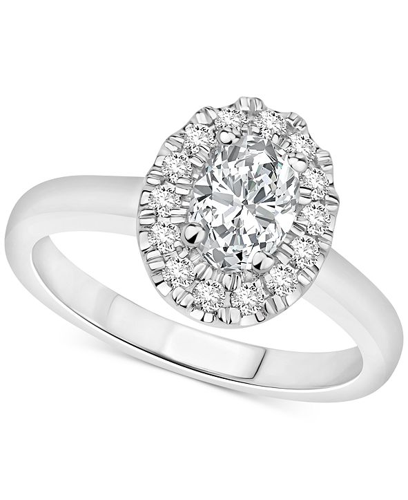 Macy's Certified Diamond Oval Halo Engagement Ring (1 ct. t.w.) in 14k White, Yellow or Rose Gold