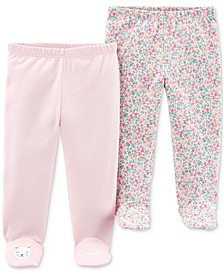 Baby Girls 2-Pk. Cotton Footed Pants