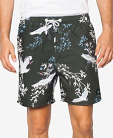 Zeegeewhy Men's Crane Graphic Swim Trunks