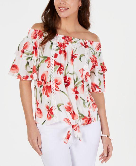 JM Collection Floral-Print Tie-Hem Gauze Top, White, Size: L