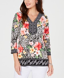 JM Collection Petite Embellished Y-Neck Tunic, Created for Macy's