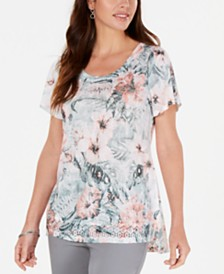 JM Collection Petite Short-Sleeve Top, Created for Macy's