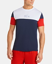 ff7fc19f Lacoste Men's Ultra Dry Moisture-Wicking Colorblocked Logo Graphic  Technical T-Shirt