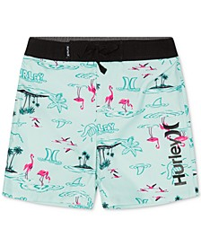 Big Boys Flamingo-Print Swim Trunks