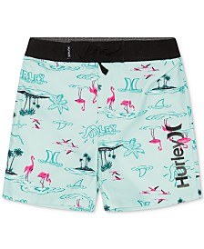 Hurley Big Boys Flamingo-Print Swim Trunks