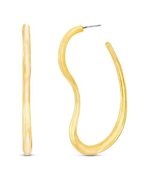 Steve Madden Women's Polished Wavy Gold-Tone Hoop Post Earrings