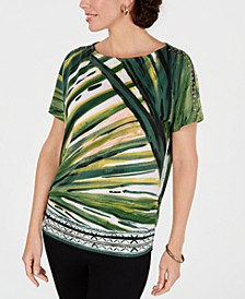 Petite Printed Cold-Shoulder Dolman-Sleeve Top, Created for Macy's