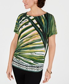JM Collection Petite Printed Cold-Shoulder Dolman-Sleeve Top, Created for Macy's