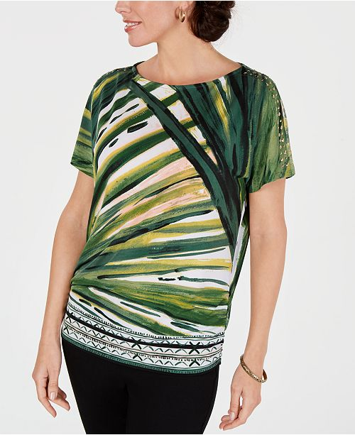 JM Collection Printed Cold-Shoulder Dolman-Sleeve Top, Created for Macy's