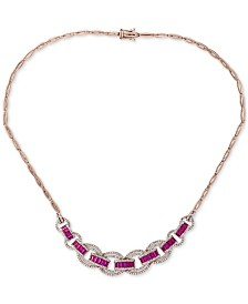 EFFY® Certified Ruby (3-1/4 ct. t.w.) & Diamond (1-1/3 ct. t.w.) Statement Necklace in 14k Rose Gold