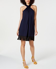 Trina Turk Sumatra Fringe-Trim Halter Dress