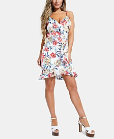 GUESS Shay Ruffled Faux-Wrap Dress