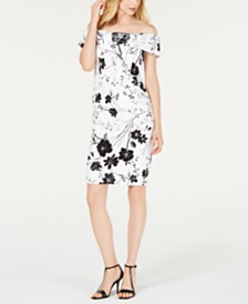 Calvin Klein Petite Floral-Printed Off-The-Shoulder Dress