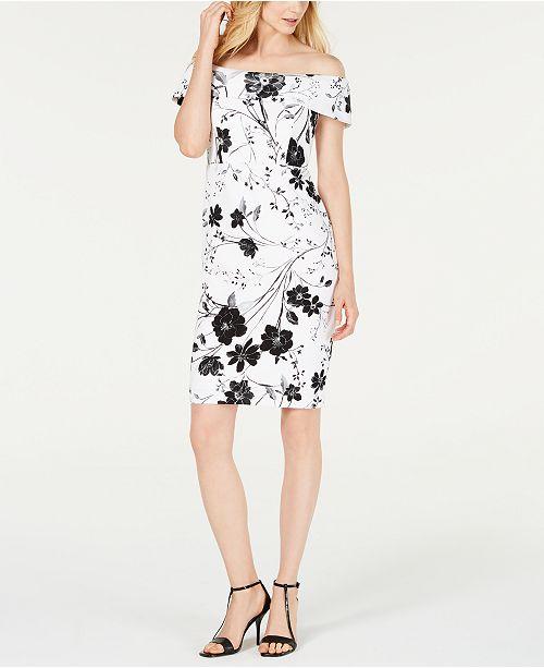 Calvin Klein Floral Off-The-Shoulder Dress