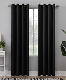 """Sun Zero Grant Solid Room Darkening Grommet Panel 54"""" x 84"""" Black"""