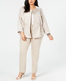 Anne Klein Plus Size Open-Front Jacket and Bowie Double-Weave Pants