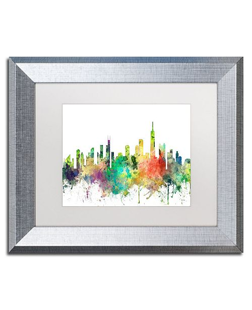 "Trademark Global Marlene Watson 'Chicago Illinois Skyline SP' Matted Framed Art - 11"" x 14"""