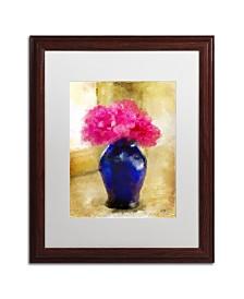 """Lois Bryan 'Pink Carnations in Cobalt Blue Vase' Matted Framed Art - 16"""" x 20"""""""