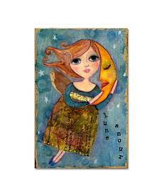 """Wyanne 'Big Eyed Girl Moon Love' Canvas Art - 12"""" x 19"""""""