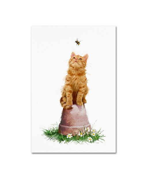 "Trademark Global The Macneil Studio 'Cat With Bee' Canvas Art - 12"" x 19"""
