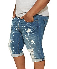 MVP Collections Men's Big and Tall Painted Blue Wash Denim Short