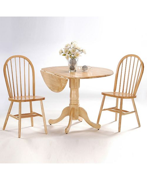 "WHITEWOOD INDUSTRIES/INTNL CONCEPTS International Concepts 42"" Dual Drop Leaf Table With 2 Windsor Chairs"