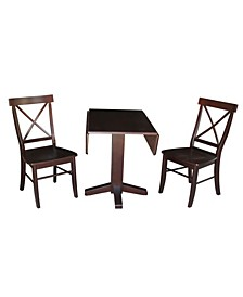 "36"" Square Dual Drop Leaf Table With 2 X-Back Chairs"